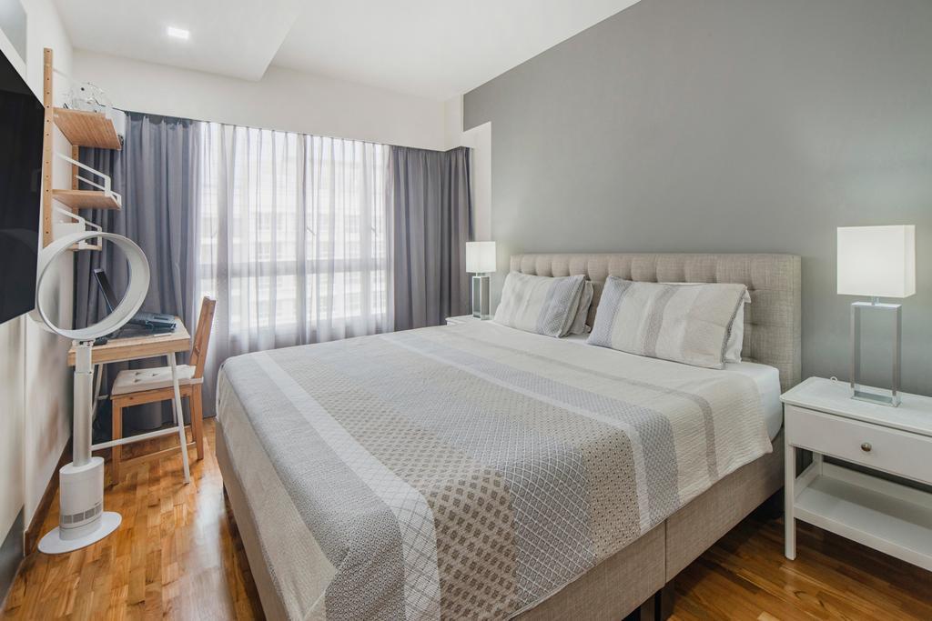 Scandinavian, HDB, Bedroom, Punggol Drive, Interior Designer, Cozy Ideas Interior Design, Sink, Bed, Furniture, Banister, Handrail, Indoors, Interior Design, Room