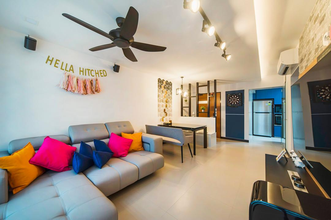 Teban Gardens, Cozy Ideas Interior Design, Contemporary, Living Room, HDB, Couch, Furniture, Lamp, Dining Room, Indoors, Interior Design, Room