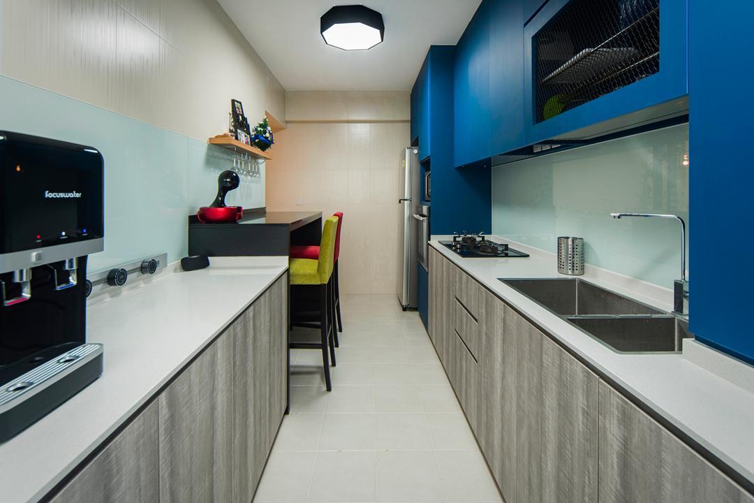 Teban Gardens, Cozy Ideas Interior Design, Contemporary, Kitchen, HDB, Sink, Electronics, Monitor, Screen, Tv, Television, Indoors, Interior Design, Room