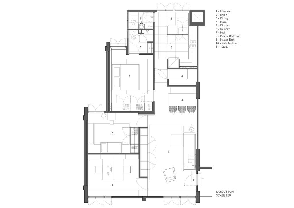 Contemporary, HDB, Clementi, Architect, JOW Architects, Floor Plan, Diagram, Plan