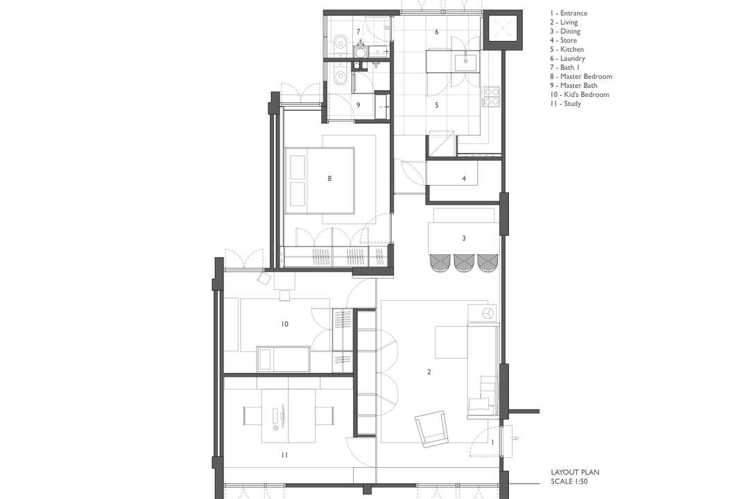 Clementi, JOW Architects, Contemporary, HDB, Floor Plan, Diagram, Plan