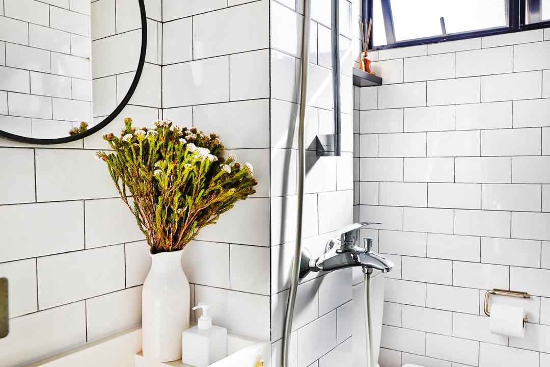 Clementi, JOW Architects, Contemporary, Bathroom, HDB, Subway Tiles, White Tiles, Tile Grout, White, Airy, Bright, Shower, Blossom, Flora, Flower, Flower Arrangement, Ornament, Plant, Indoors, Interior Design, Room