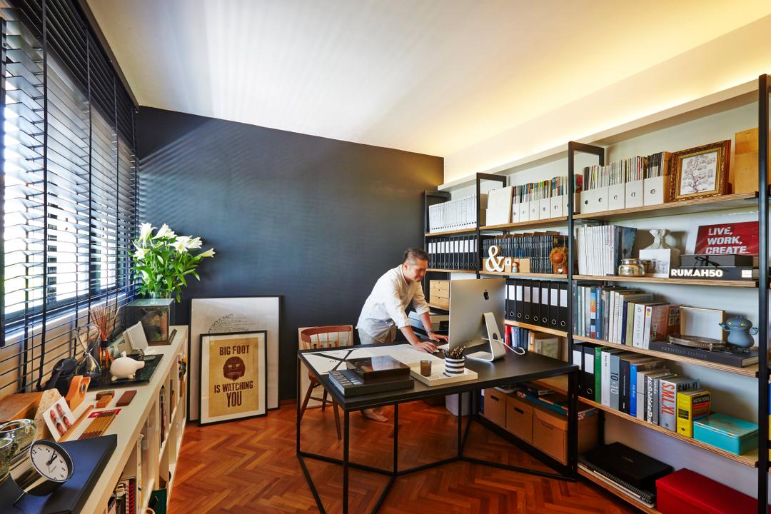 Clementi, JOW Architects, Contemporary, Study, HDB, Bookcase, Open Case, Work Desk, Study Desk, Wood Flooring, Herringbone Wood Pattern, Blinds, Dark Wall, Dark, Cosy, Books, Display, Storage, Workspace, Flora, Jar, Plant, Potted Plant, Pottery, Vase