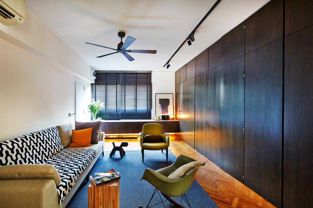 Clementi, JOW Architects, Contemporary, Living Room, HDB, Herringbone Floor, Wooden Floor, Partition, Rug, Arm Chair, Bay Window, Dark Wood, Sofa, Wooden Side Table, Area Rug, Dark Blinds, Couch, Furniture, Chair, Indoors, Interior Design, Room, Conference Room, Meeting Room