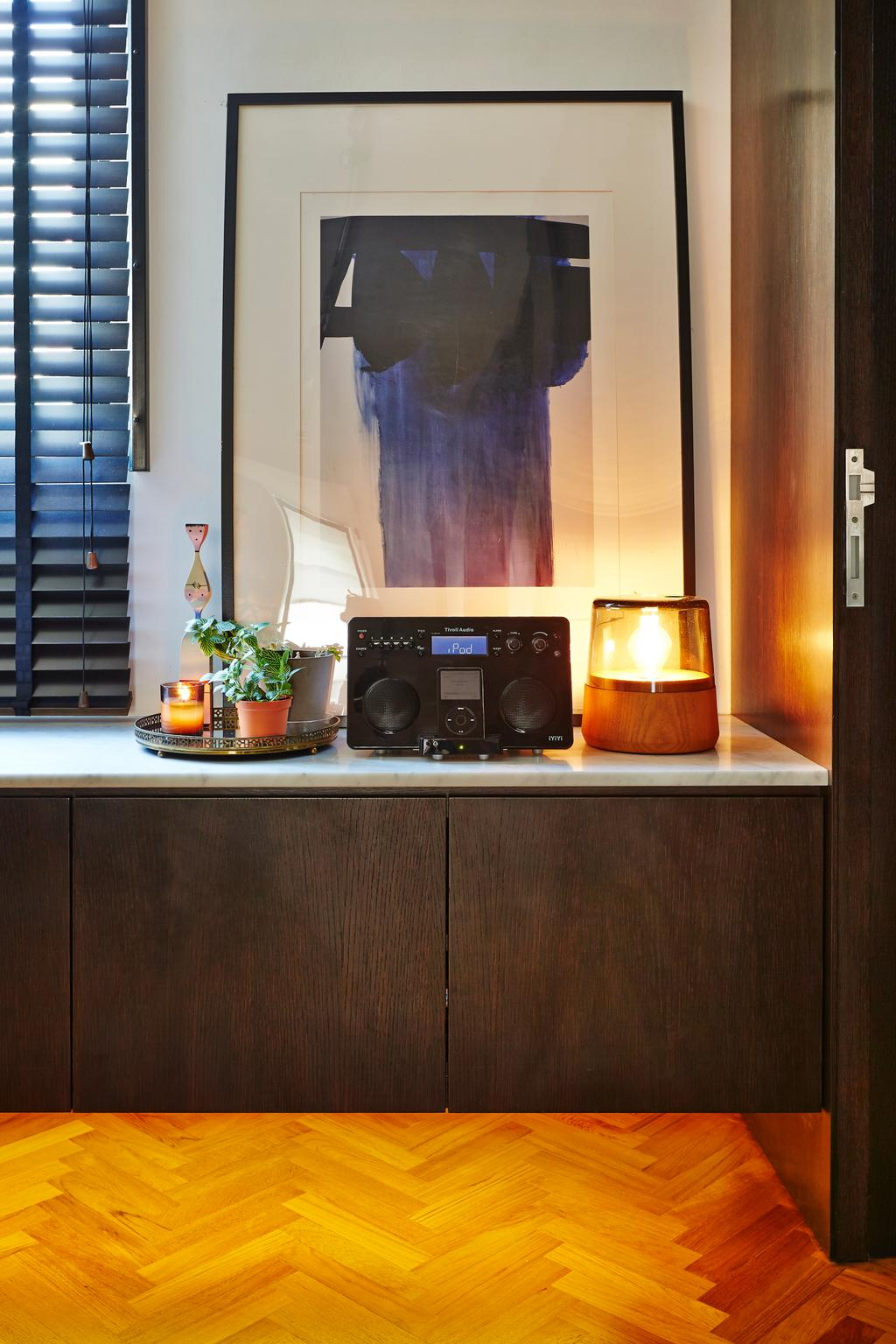 Contemporary, HDB, Living Room, Clementi, Architect, JOW Architects, Wall Cabinet, Wall Art, Shoe Storage, Flora, Jar, Plant, Potted Plant, Pottery, Vase