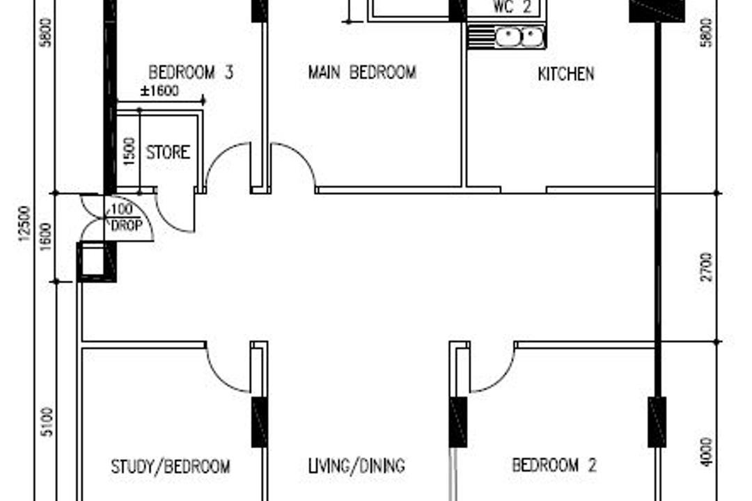 Bishan, JOW Architects, Contemporary, HDB, Floor Plan, Diagram, Plan