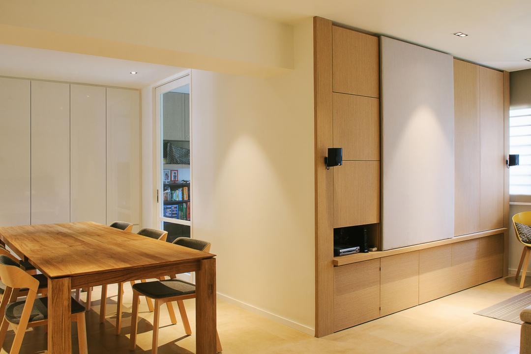 Bishan, JOW Architects, Contemporary, Dining Room, HDB, Tiles, Dining Table, Dining Chairs, Cupboards, Feature Wall, Speakers, Furniture, Table, Chair