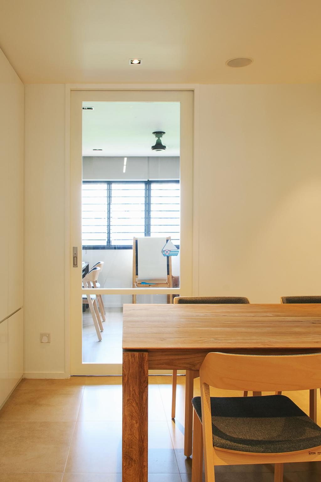 Contemporary, HDB, Dining Room, Bishan, Architect, JOW Architects, Dining Table, Dining Chair, Tiles, White Board, Furniture, Table, Banister, Handrail