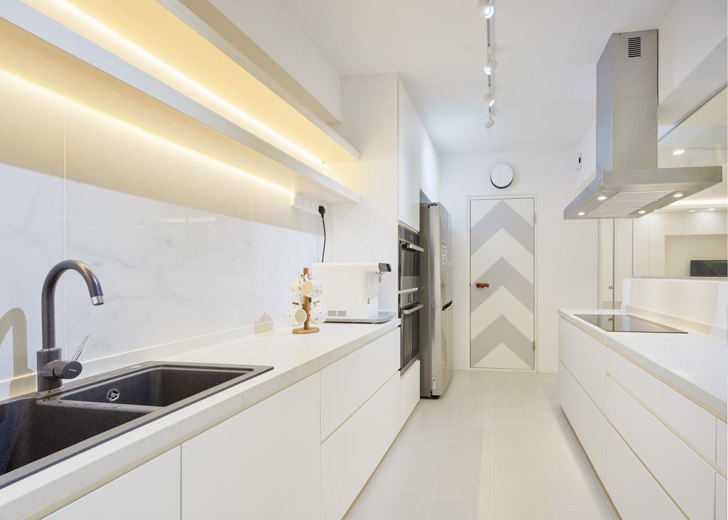 Minimalist, HDB, Kitchen, Keat Hong Pride, Interior Designer, Absolook Interior Design, Indoors, Interior Design, Sink