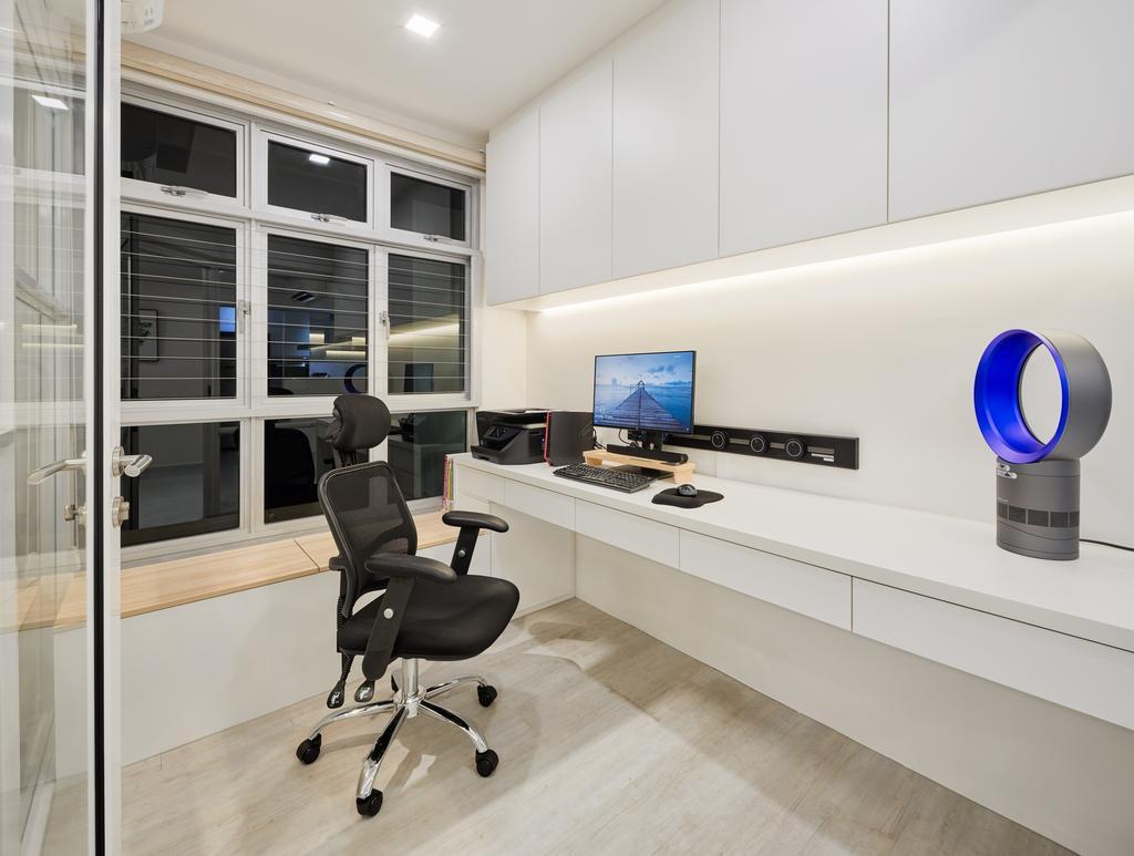 Minimalist, HDB, Study, Keat Hong Pride, Interior Designer, Absolook Interior Design, Chair, Furniture, Indoors, Interior Design