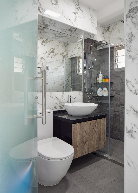Industrial, HDB, Bathroom, Bedok South Avenue 2, Interior Designer, Absolook Interior Design, Indoors, Interior Design, Room