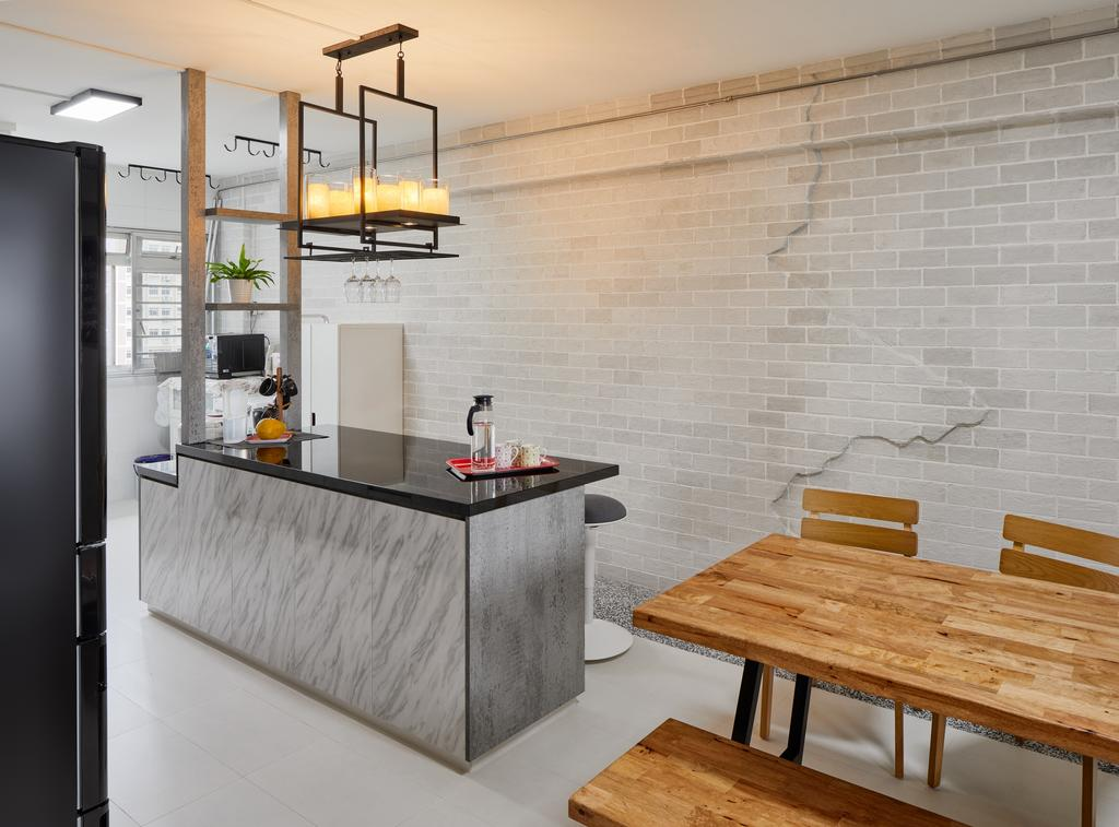Industrial, HDB, Kitchen, Bedok South Avenue 2, Interior Designer, Absolook Interior Design, Door, Sliding Door