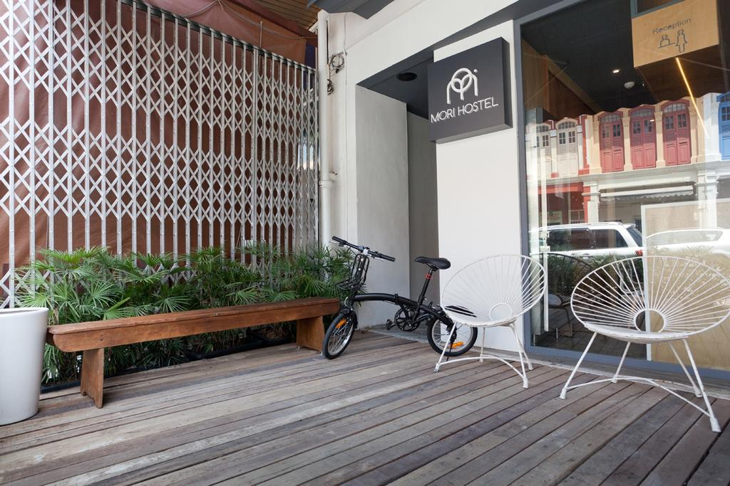 Mori Hostel, Commercial, Architect, 7 Interior Architecture, Contemporary, Gate, Plants, Bench, Wood Floor, Chair, Furniture, Bicycle, Bike, Transportation, Vehicle, Porch