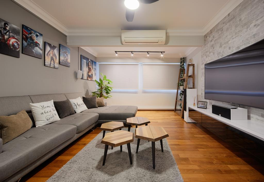 Industrial, HDB, Living Room, Bedok South Avenue 2, Interior Designer, Absolook Interior Design, Couch, Furniture, Dining Table, Table, Chair, Cushion, Home Decor, Coffee Table