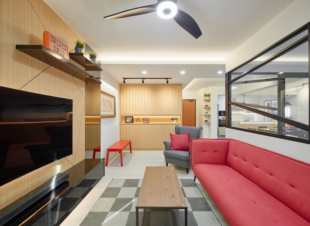 Contemporary, HDB, Living Room, Boon Lay View, Interior Designer, Absolook Interior Design, Couch, Furniture, Bench