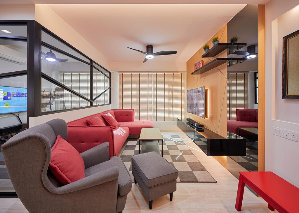 Contemporary, HDB, Boon Lay View, Interior Designer, Absolook Interior Design, Furniture, Ottoman, Couch, Chair, Electronics, Monitor, Screen, Tv, Television