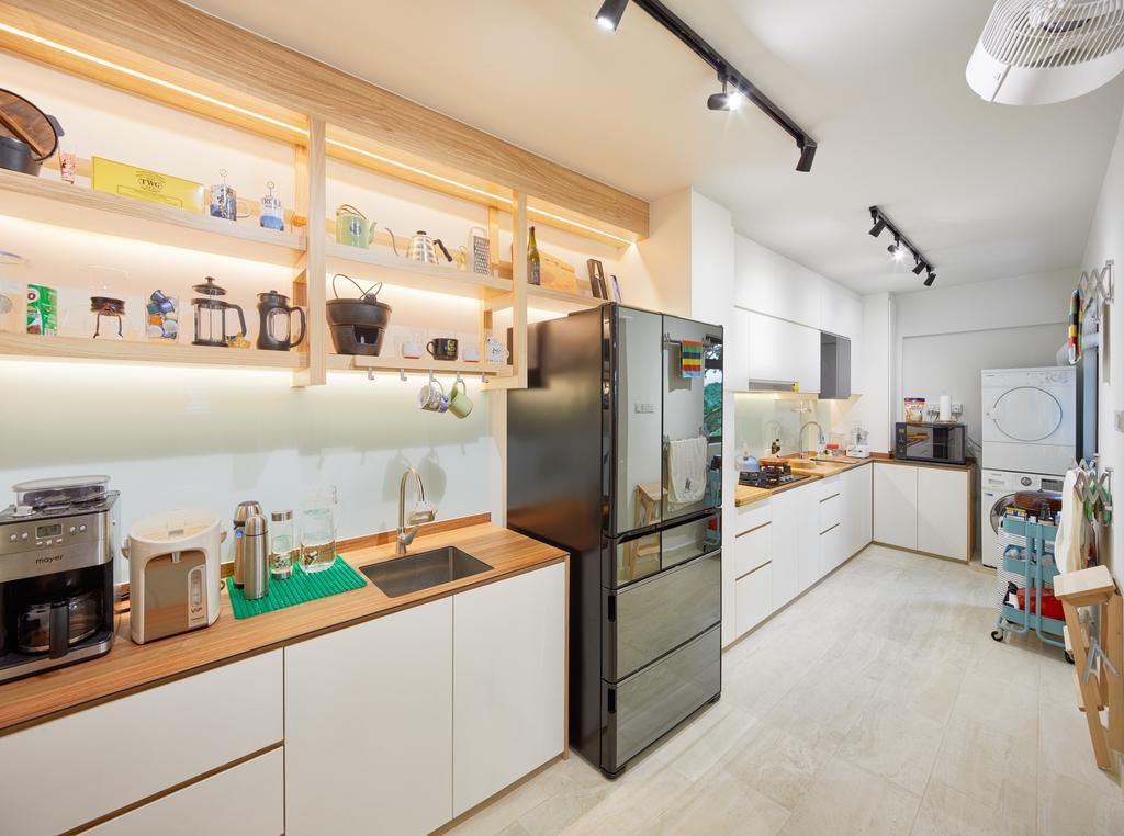 Minimalist, HDB, Kitchen, Choa Chu Kang Crescent, Interior Designer, Absolook Interior Design, Appliance, Electrical Device, Microwave, Oven, Indoors, Interior Design