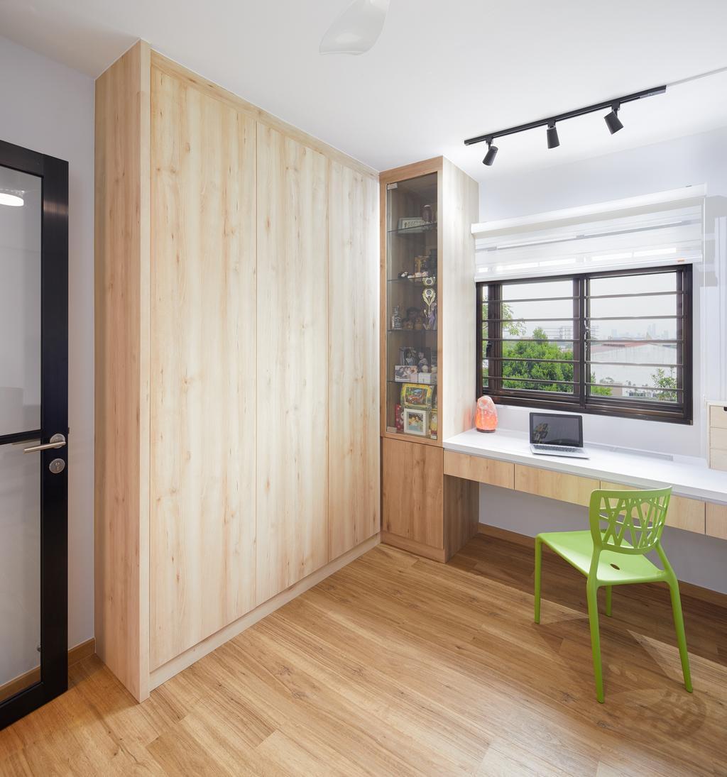 Minimalist, HDB, Study, Choa Chu Kang Crescent, Interior Designer, Absolook Interior Design, Chair, Furniture, Window, Indoors, Interior Design, Door, Sliding Door
