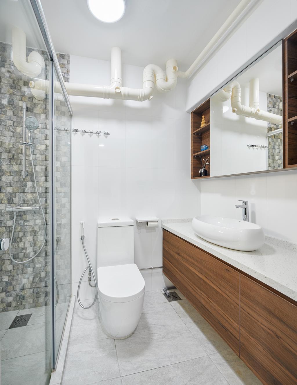Modern, HDB, Bathroom, Compassvale South Gate, Interior Designer, Absolook Interior Design, Indoors, Interior Design, Room, Toilet