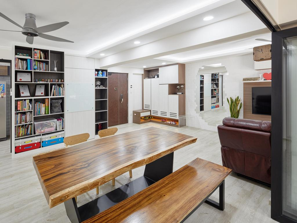 Modern, HDB, Dining Room, Compassvale South Gate, Interior Designer, Absolook Interior Design, Dining Table, Furniture, Table, Chair, Indoors, Interior Design, Room, Bookcase, Plywood, Wood, Shelf