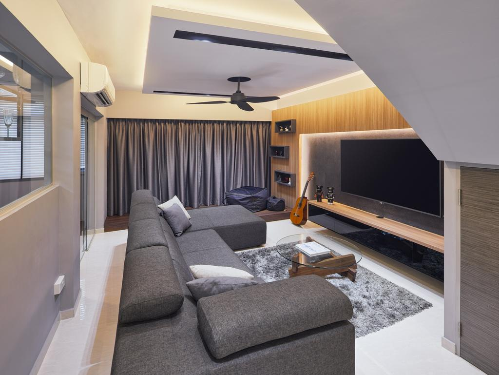 Modern, HDB, Living Room, Tampines Palmspring, Interior Designer, Absolook Interior Design, Contemporary, Molding, Couch, Furniture, Indoors, Interior Design, Curtain, Home Decor, Window, Window Shade
