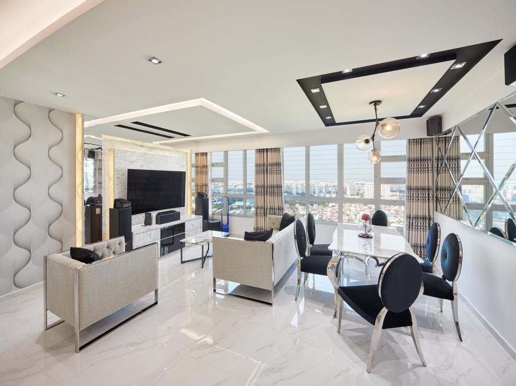 Modern, HDB, Living Room, Teck Ghee Parkview, Interior Designer, Absolook Interior Design, Chair, Furniture, Dining Table, Table, Fireplace, Hearth, Conference Room, Indoors, Meeting Room, Room