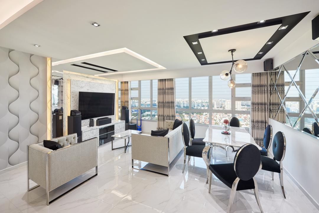 Teck Ghee Parkview, Absolook Interior Design, Modern, Living Room, HDB, Chair, Furniture, Dining Table, Table, Fireplace, Hearth, Conference Room, Indoors, Meeting Room, Room