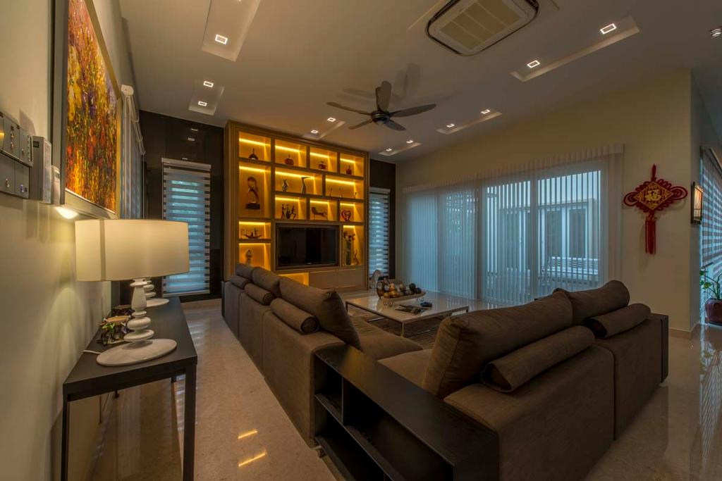 Transitional, Landed, Living Room, Yunnan Crescent (Block 124), Interior Designer, Posh Living Interior Design, Sofa, Tv, Ceiling Fan, Down Light, Lamp, Table, Tiles, Couch, Furniture, Indoors, Interior Design, Room, Dining Table