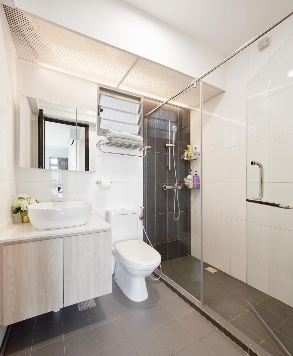 Minimalistic, HDB, Waterway Cascadia, Interior Designer, Absolook Interior Design, Modern, Bathroom, Indoors, Interior Design, Room, Towel, Door, Sliding Door