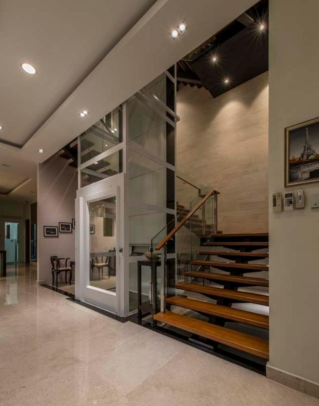 Transitional, Landed, Yunnan Crescent (Block 124), Interior Designer, Posh Living Interior Design, Own Lights, Lift, Stairs, Tiles, Staircase, Elevator, Banister, Handrail
