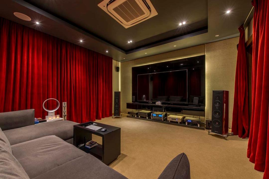 Yunnan Crescent (Block 124), Posh Living Interior Design, Transitional, Landed, Entertainment Room, Sofa, Carpet, Curtain, Tv, Speakers, Down Lights, Electronics, Entertainment Center, Home Theater