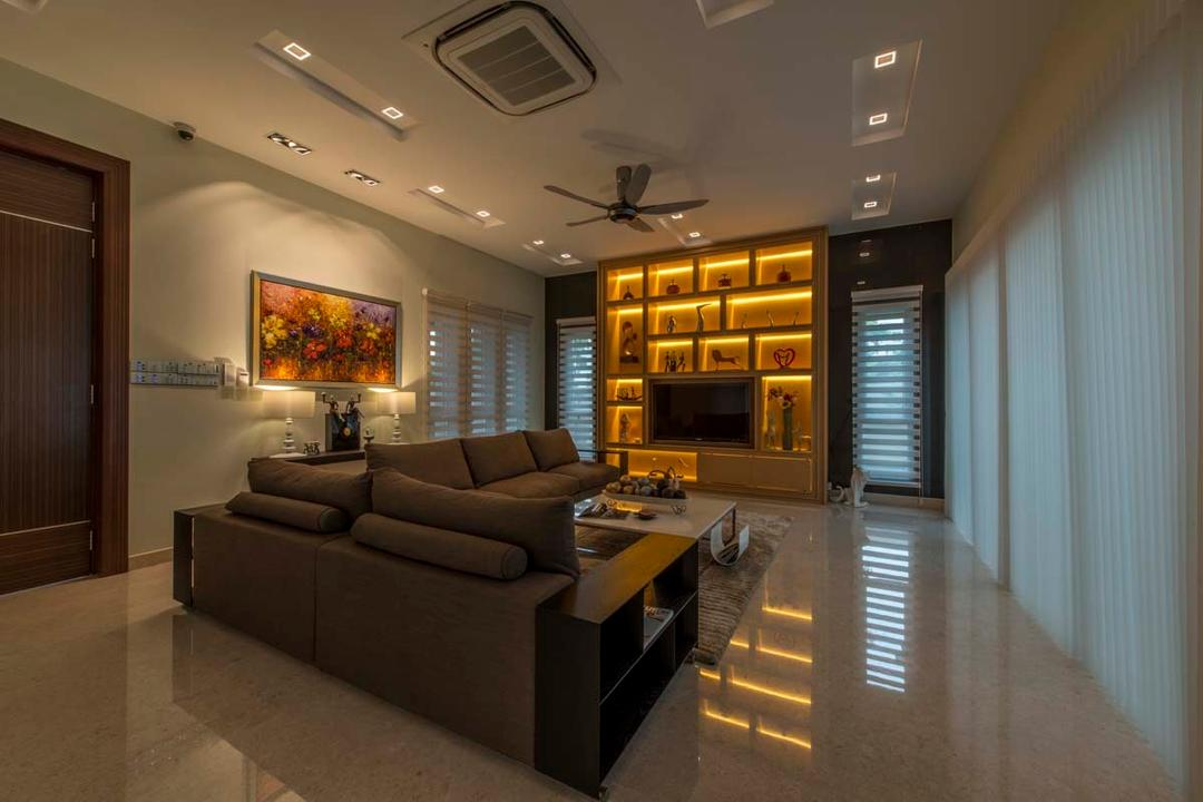 Yunnan Crescent (Block 124), Posh Living Interior Design, Transitional, Living Room, Landed, Sofa, Coffee Tbale, Down Lights, Ceiling Fan, Tv, Tv Console, Couch, Furniture, Appliance, Electrical Device, Oven
