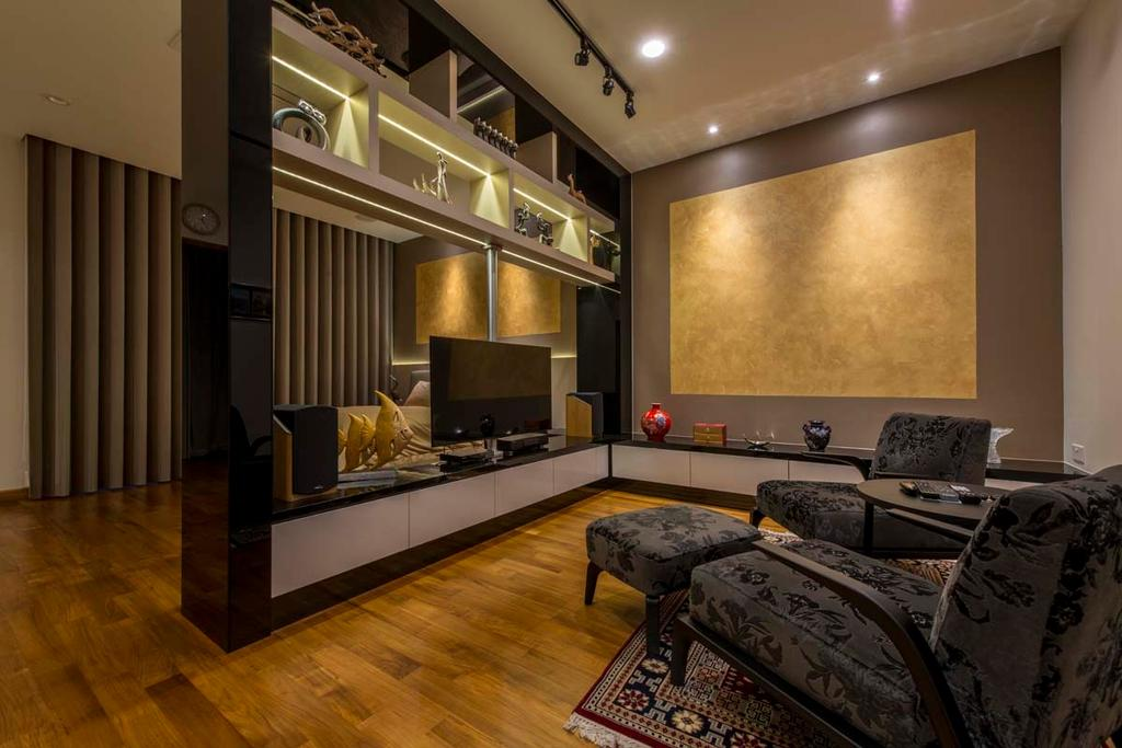 Transitional, Landed, Living Room, Yunnan Crescent (Block 124), Interior Designer, Posh Living Interior Design, Tv, Tv Console, Shelving, Track Lights, Woood Floor, Parquet, Sofa, Electronics, Entertainment Center, Home Theater, Basement, Indoors, Room, Couch, Furniture