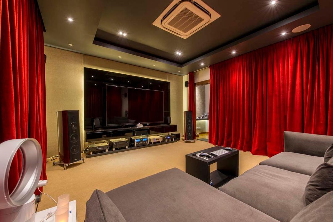 Yunnan Crescent (Block 124), Posh Living Interior Design, Transitional, Landed, Entertainment Room, Curtian, Sofa, Speaker, Tv, Down Light, Bladeless Fan, Carpet, Electronics, Entertainment Center, Home Theater, Loudspeaker