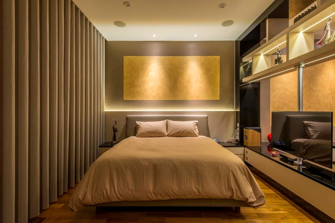 Yunnan Crescent (Block 124), Posh Living Interior Design, Transitional, Bedroom, Landed, Curtain, Bed, Head Board, Shleving, Donw Light, Cove Light, Furniture, Indoors, Room