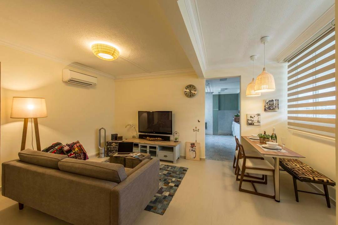 Simei Road (Block 157), Posh Living Interior Design, Scandinavian, Living Room, HDB, Blinds, Dining Able, Dining Bench, Sofa, Tv, Tv Console, Standing Lamp, Lights, Tiles, Couch, Furniture, Electronics, Monitor, Screen, Television, Dining Table, Table, Entertainment Center