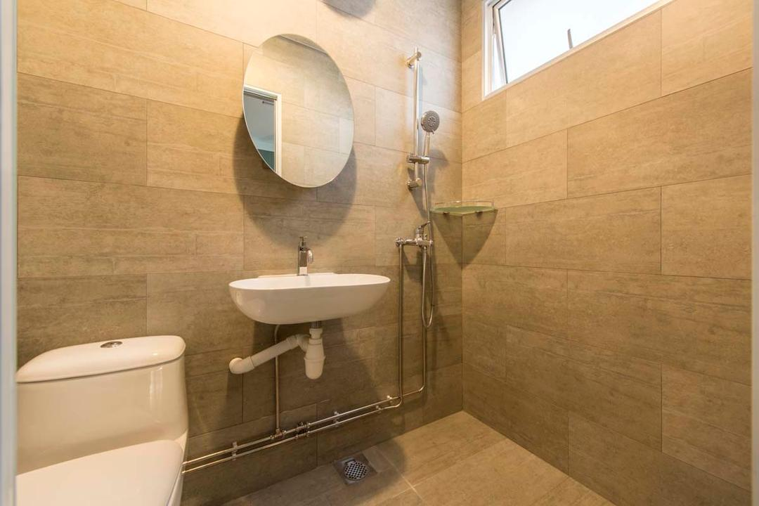 Simei Road (Block 157), Posh Living Interior Design, Scandinavian, Bathroom, HDB, Wall Tiles, Mirror, Sink, Toile Bowl, Shower, Ceramic Sink, Indoors, Interior Design, Room