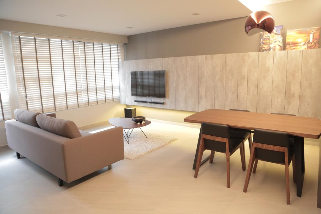 Minimalist, HDB, Living Room, Punggol Field (Block 258C), Interior Designer, Forefront Interior, Dining Table, Furniture, Table, Lamp, Lampshade, Indoors, Room, Dining Room, Interior Design
