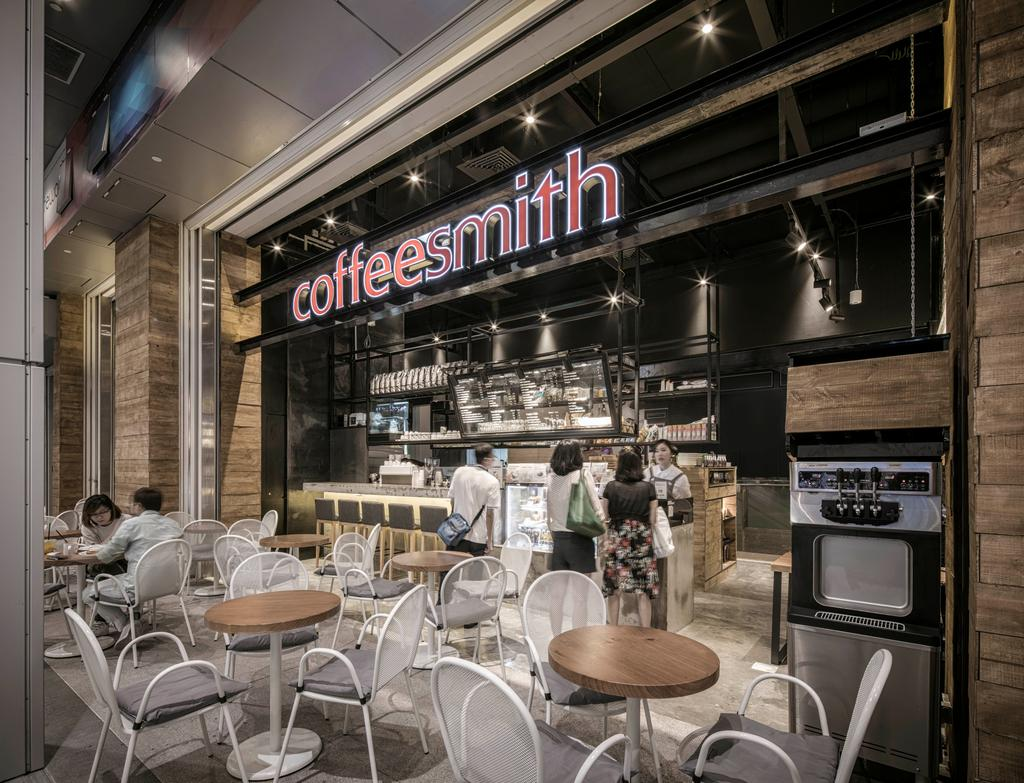 Coffeesmith, Commercial, Interior Designer, Ethereall, Industrial, Cafe, Restaurant, Dining Table, Furniture, Table, Food, Food Court