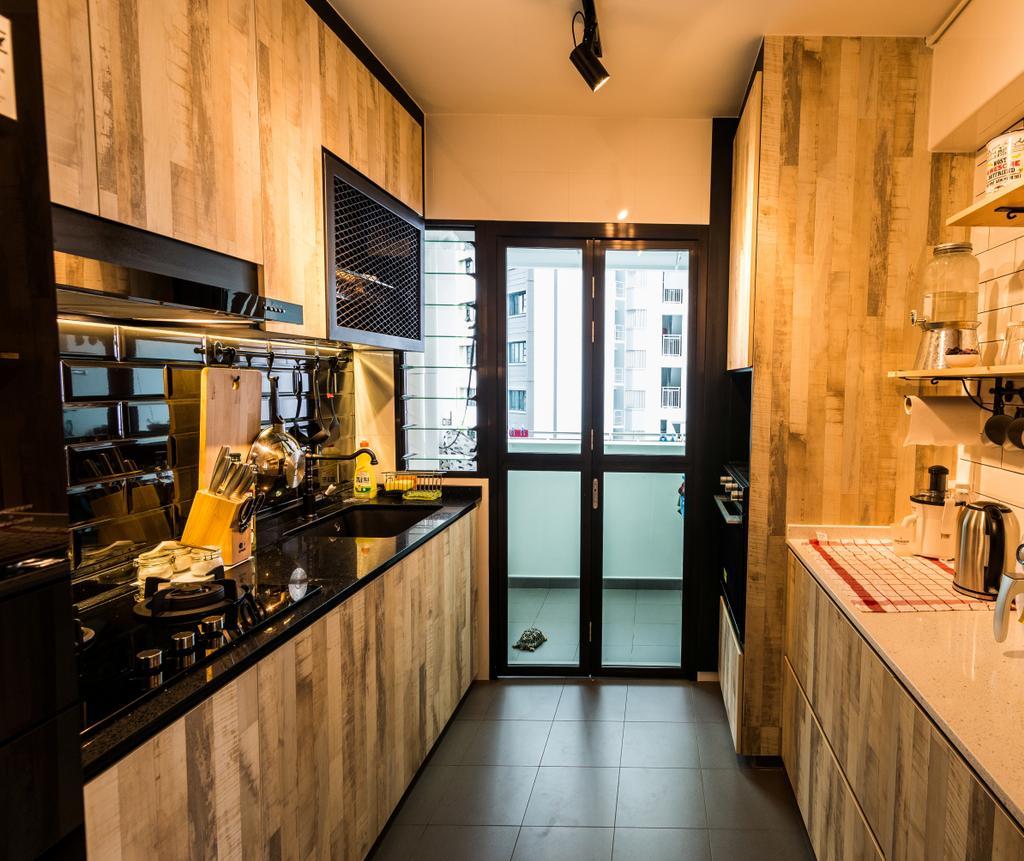 Industrial, HDB, Kitchen, Fernvale Link, Interior Designer, Tab Gallery, Scandinavian, Indoors, Interior Design, Room, Light Fixture, Plywood, Wood, Bathroom