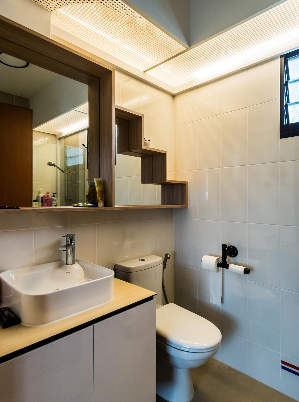 Industrial, HDB, Bathroom, Fernvale Link, Interior Designer, Tab Gallery, Scandinavian, Paper, Paper Towel, Tissue, Towel, Toilet Paper
