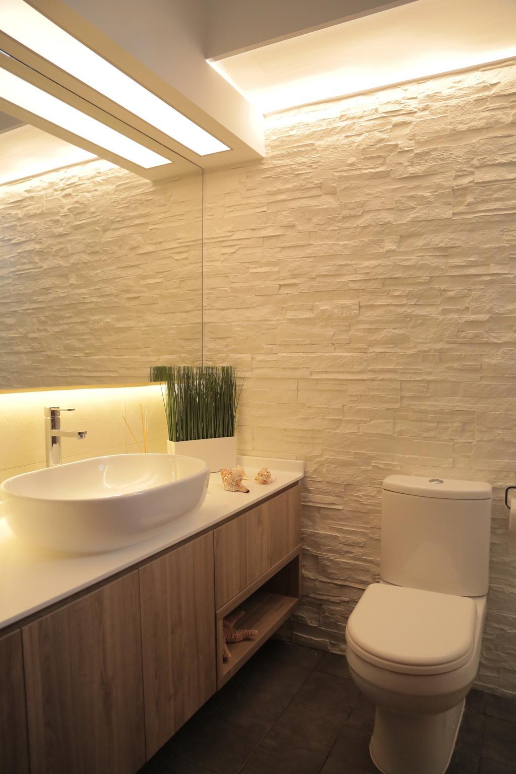 Minimalistic, HDB, Bathroom, Punggol Field (Block 258C), Interior Designer, Forefront Interior, Sink, Indoors, Interior Design, Room