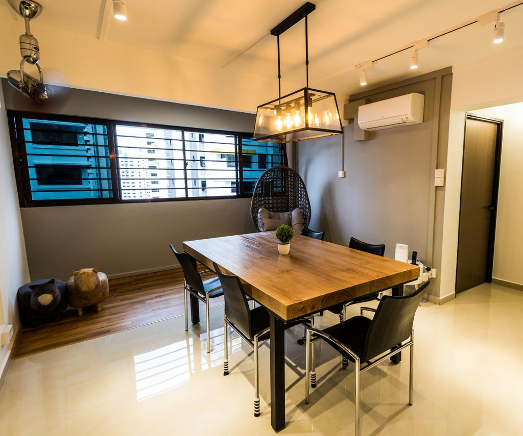 Modern, HDB, Dining Room, Senja Road, Interior Designer, Tab Gallery, Dining Table, Furniture, Table, Building, Housing, Indoors, Loft, Interior Design, Room