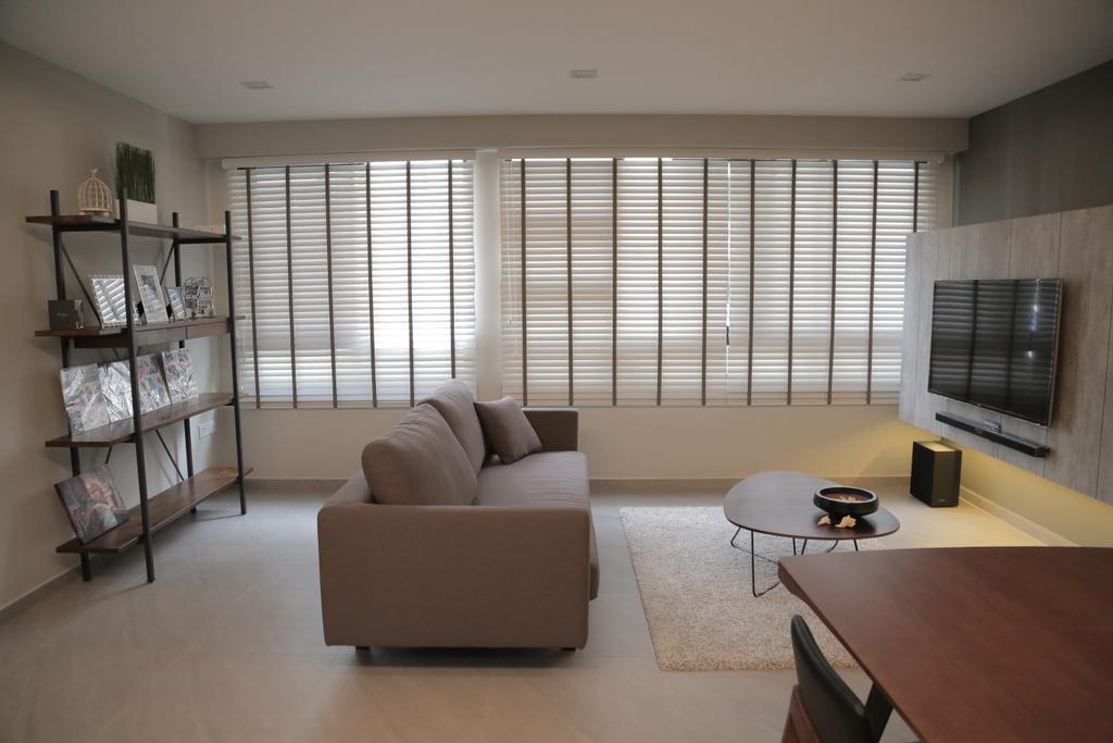 Minimalist, HDB, Living Room, Punggol Field (Block 258C), Interior Designer, Forefront Interior, Shelf, Indoors, Room, Plywood, Wood