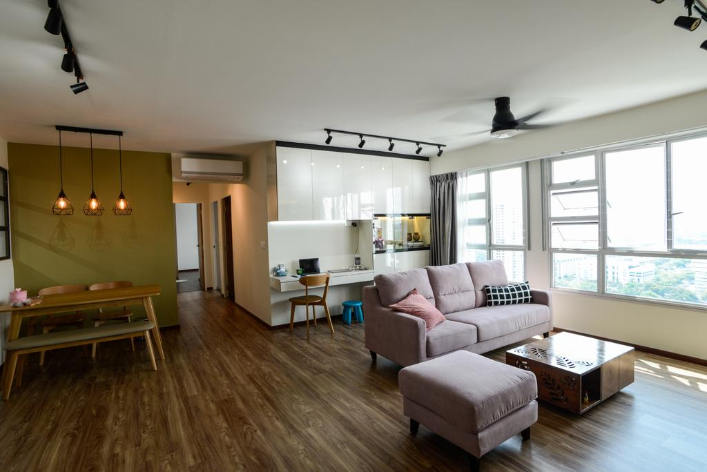Modern, HDB, Living Room, Clementi Avenue 4, Interior Designer, Tab Gallery, Scandinavian, Furniture, Ottoman, Building, Housing, Indoors, Loft, Room, Flooring