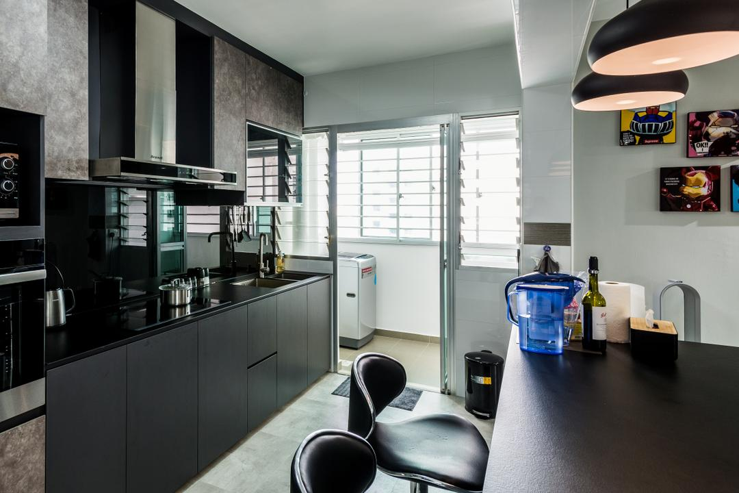Yung Kuang Road, Tab Gallery, Modern, Kitchen, HDB, Chair, Furniture, Bottle