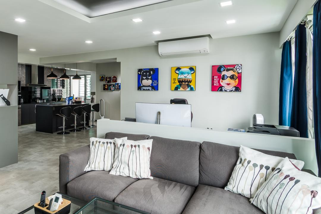 Yung Kuang Road, Tab Gallery, Modern, HDB, Couch, Furniture, Bed, Indoors, Room, White Board, Appliance, Electrical Device, Oven