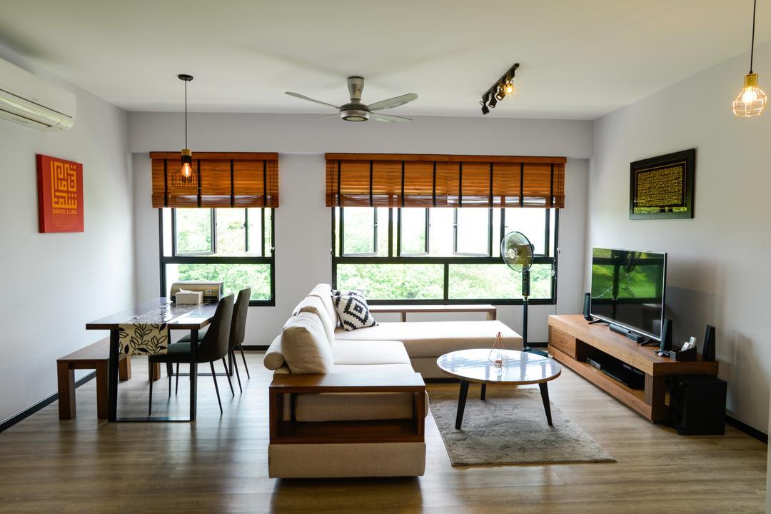 Yishun Avenue 4, Tab Gallery, Minimalistic, Industrial, Living Room, HDB, Dining Table, Furniture, Table, Coffee Table, Couch, Dining Room, Indoors, Interior Design, Room