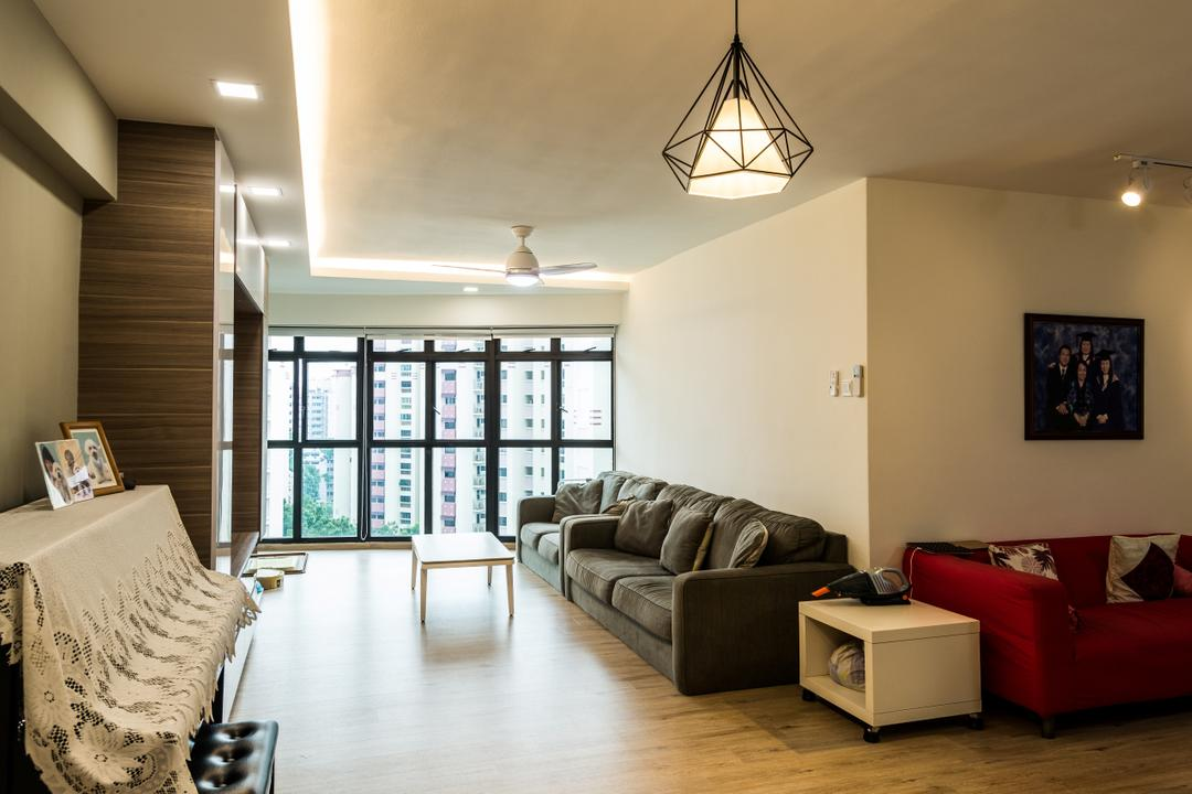 Jurong West Street 64, Tab Gallery, Contemporary, Living Room, HDB, Couch, Furniture, Light Fixture, Art, Painting