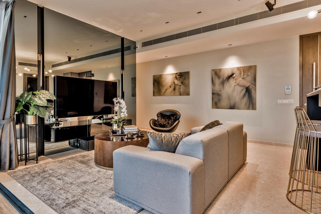 Condo, Living Room, Amber Skye, Interior Designer, Mr Shopper Studio, Couch, Furniture, Flora, Jar, Plant, Potted Plant, Pottery, Vase, Indoors, Interior Design, Chair